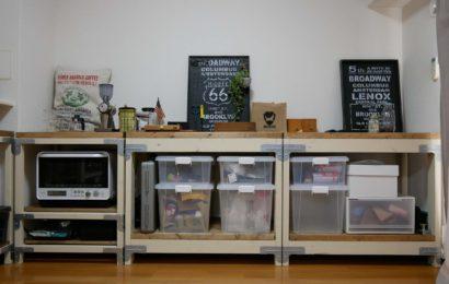 カフェ風の部屋(リビングダイニング)2×4を使用してDIYで仕上げた棚や収納を紹介